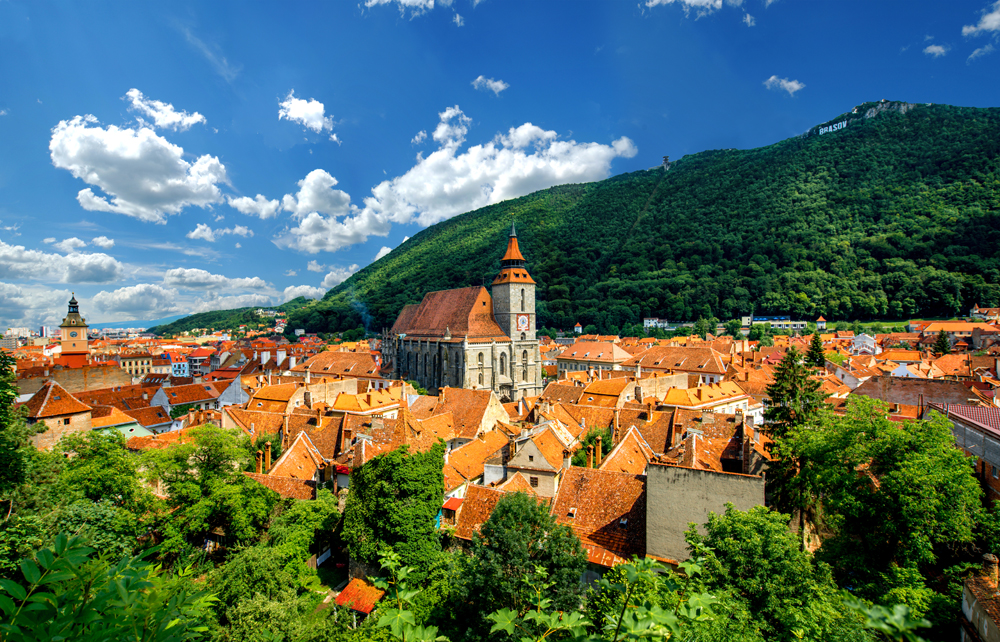 Brasov Cityscape with Black Cathedral and Mount Tampa, Transylvania, Romania