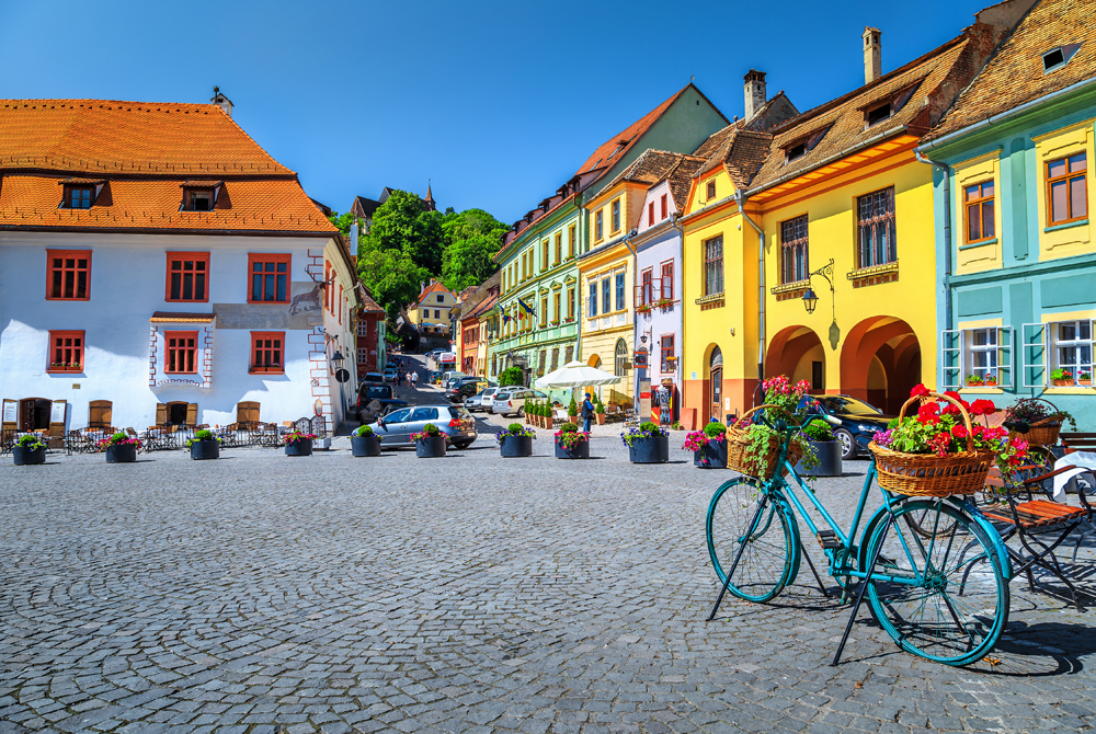 Colourful Medieval Buildings in City Center, Sighisoara Fortress, Transylvania, Romania