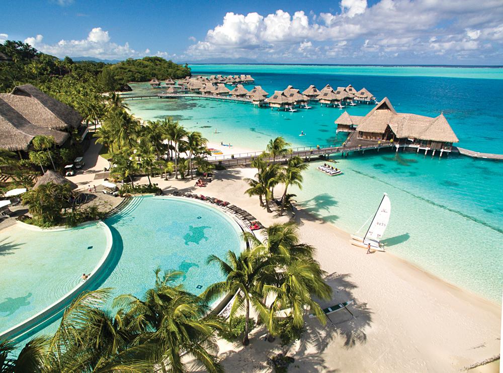 Conrad Bora Bora - Aerial View of Infinity Pool and Beach, Tahiti (French Polynesia)