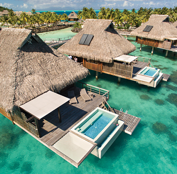 Conrad Bora Bora - Aerial View of Overwater Villa, Tahiti (French Polynesia)