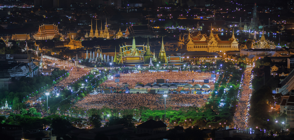 Crowds Gathered to Light a Candle and Commemorate the Late King Bhumibol Adulyadej in Sanam Luang, Bangkok, Thailand