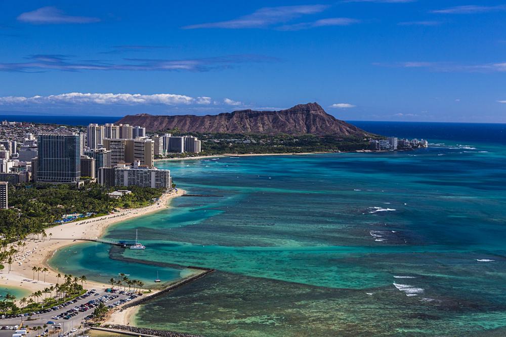 Iconic shot of Waikiki and Leahi, Oahu, Hawaii