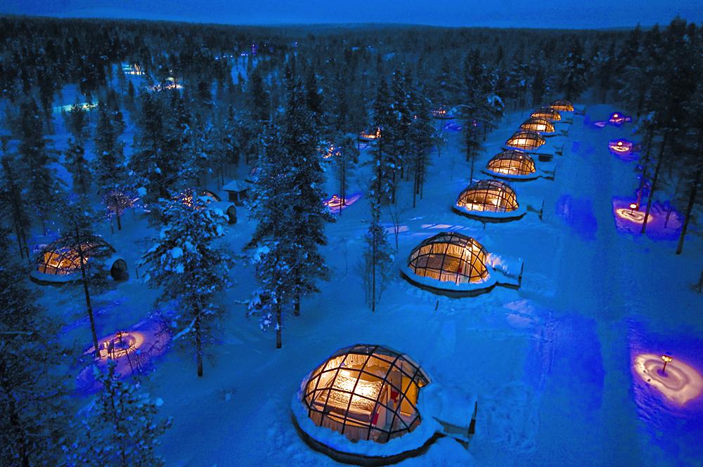 Kakslauttanen Arctic Resort - Glass Igloos at Night, Finnish Lapland, Finland