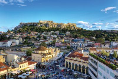 Monastiraki Square and Acropolis in Athens, Greece