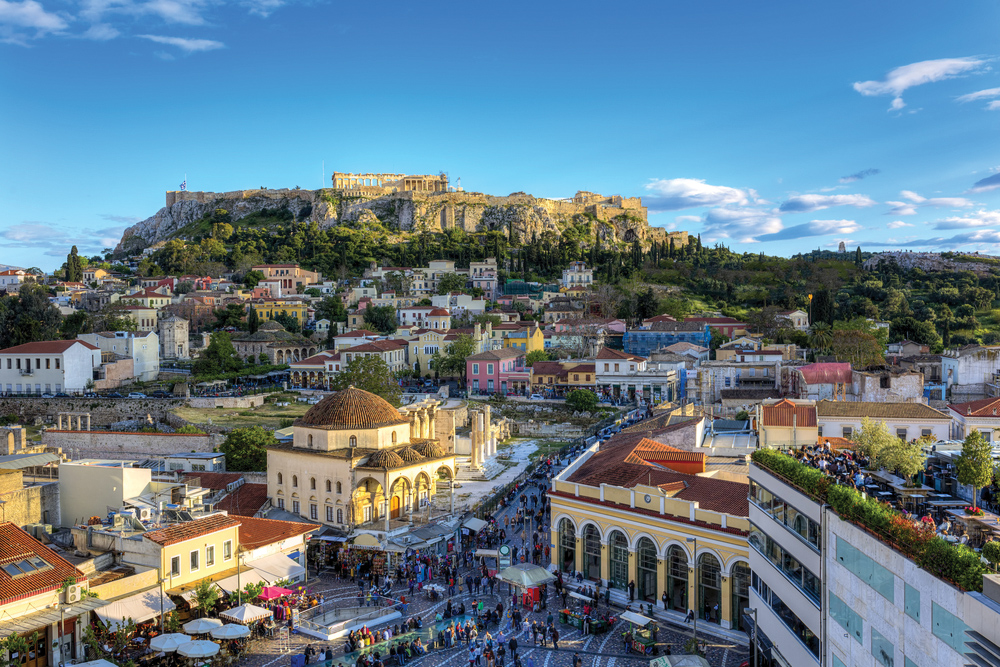 Monastiraki Square and Acropolis in Athens, Greece