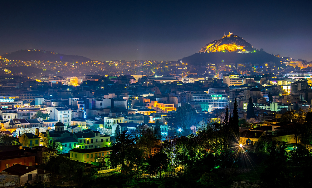 Night Aerial View of Mount Lycabettus and its neighborhood in Athens, Greece