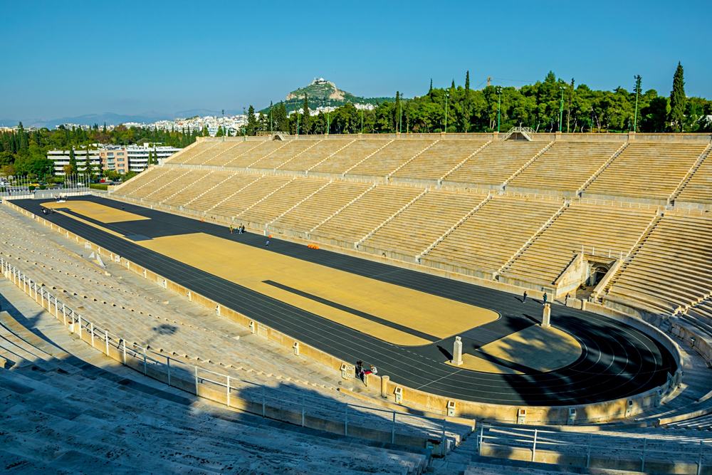 Panathenaic Stadium with Mount Lycabettus in the Background, Athens, Greece