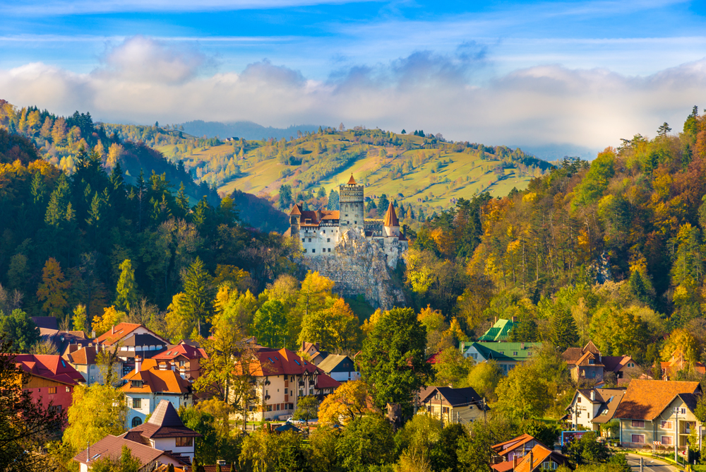 Panoramic View of Bran Castle in Autumn, Brasov, Transylvania, Romania