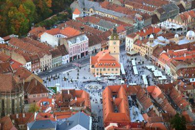 Piata Stafuli, City Hall and Central Square in the Old Town of Brasov, Transylvania, Romania