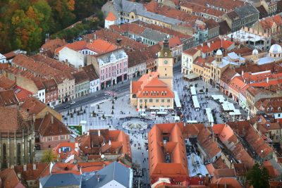 Piata Stafuli, City Hall and Central Square in the Old Town of Brasov, Transylvania, Romania