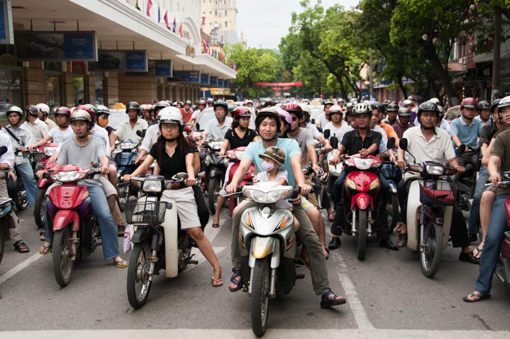 Red Light for Bikers in Hanoi, Vietnam