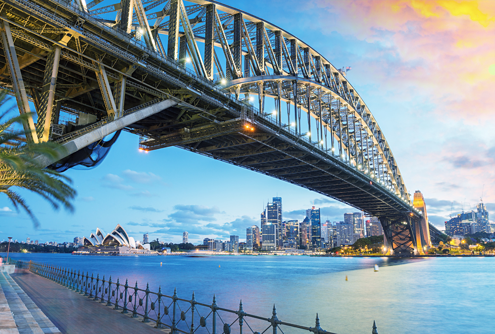 Sydney Harbour Bridge and Opera House at Dusk, New South Wales, Australia