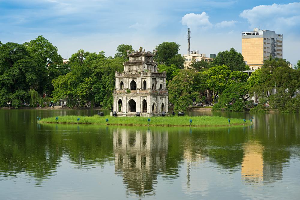Turtle Tower at Hoan Kiem lake (Sword lake, Ho Guom) in Hanoi, Vietnam