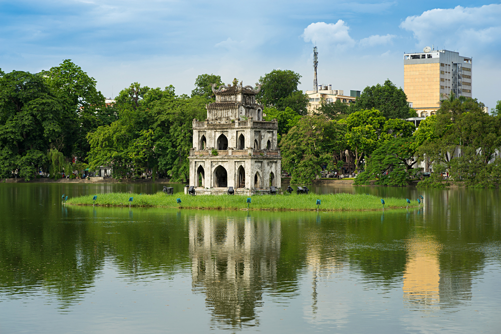 Turtle Tower at Hoan Kiem lake (Sword lake, Ho Guom) in Hanoi, Vietnam