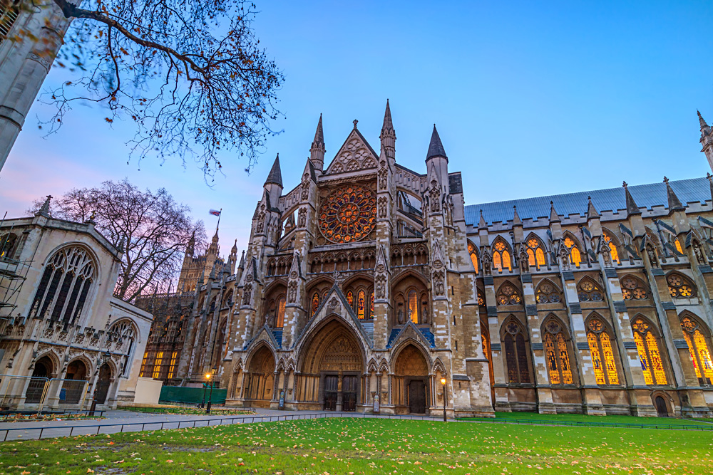 Twilight view of Westminster Abbey Cathedral in London, England, United Kingdom (UK)