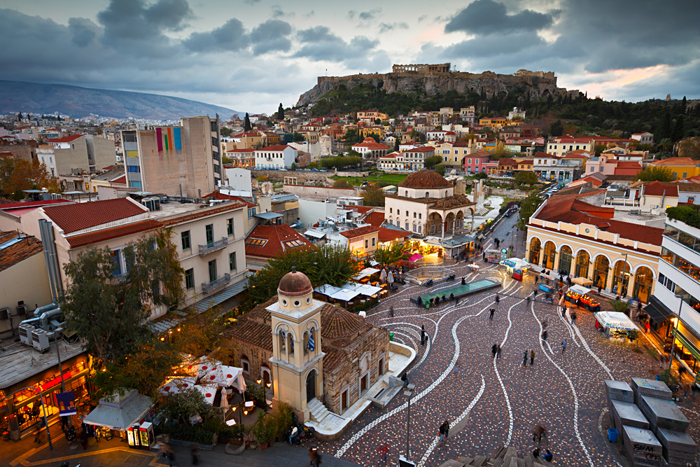 View of Acropolis from a Roof-top Coffee Shop in Monastiraki Square, Athens, Greece