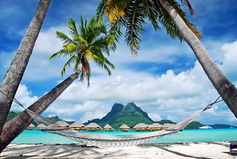 View of the Otemanu Mountain, Palm Trees and Empty Hammock, Bora Bora, Tahiti (French Polynesia)