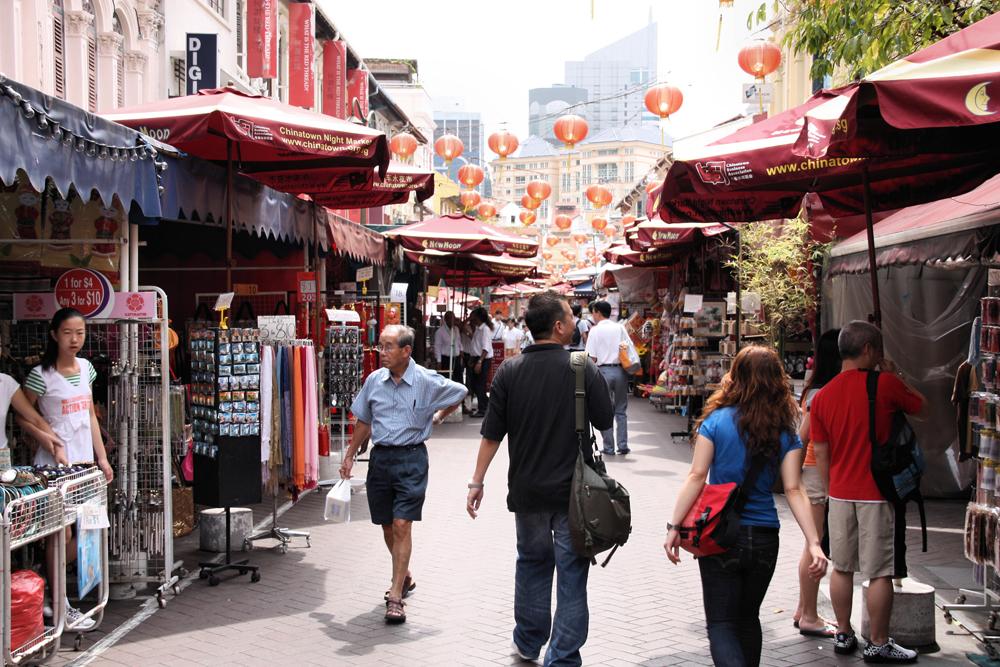 Walking Through a Market in Singapore