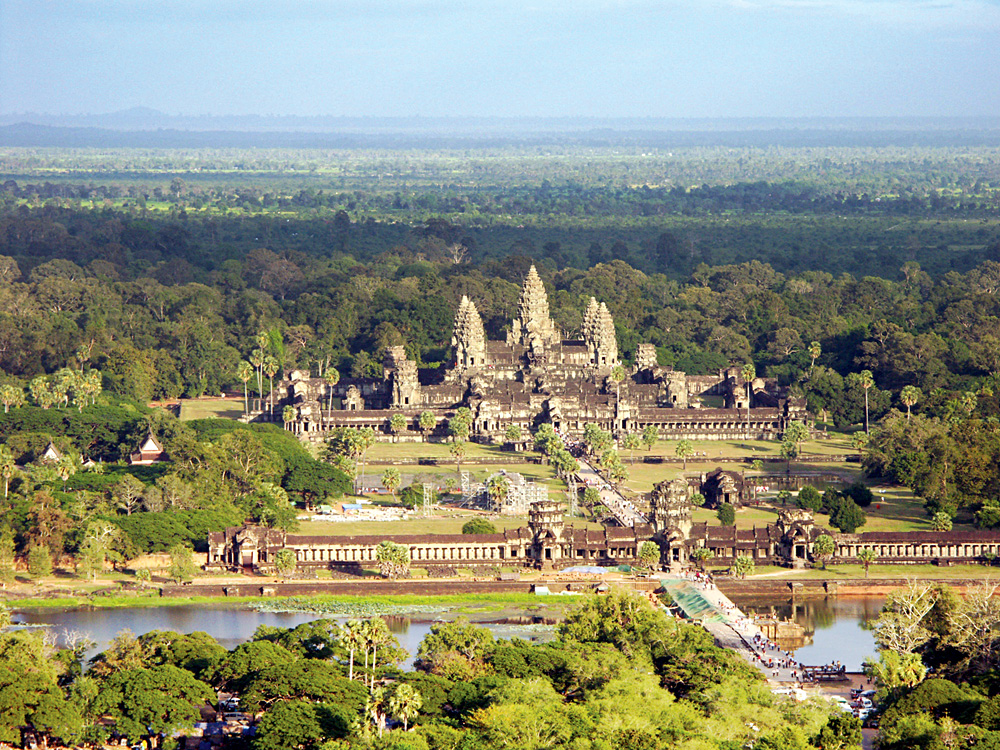 Aerial View of Angkor Wat Complex, Siem Reap, Cambodia