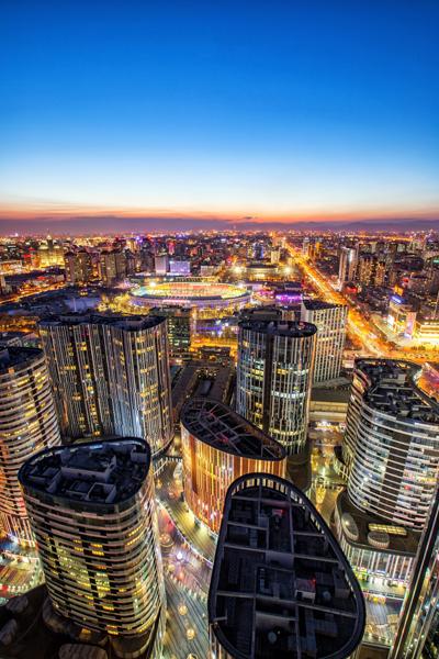 Aerial view of Sanlitun, Beijing, China