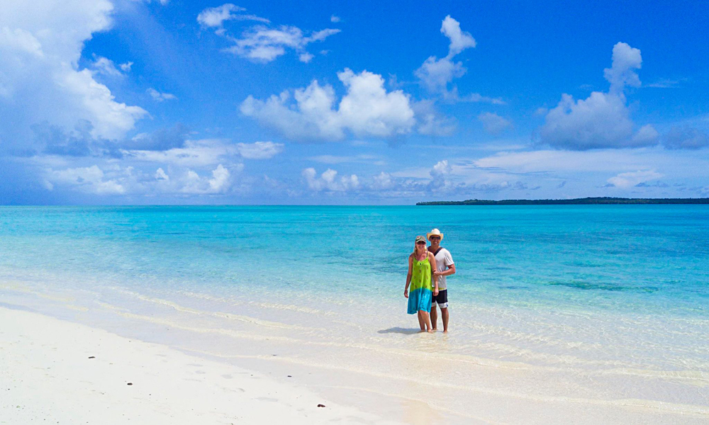 Alejandro - Alejandro and Kasia on the Beach, One Foot Island, Cook Islands