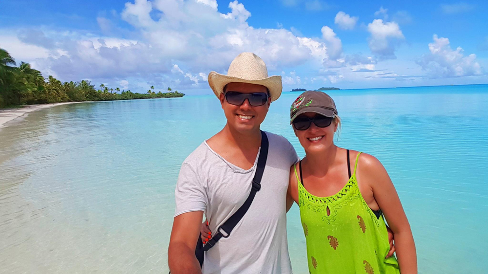 Alejandro and Kasia on the Beach, Aitutaki, Cook Islands
