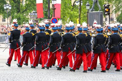 Close-up of Military Parade during Bastille Day ceremonies, Paris, France