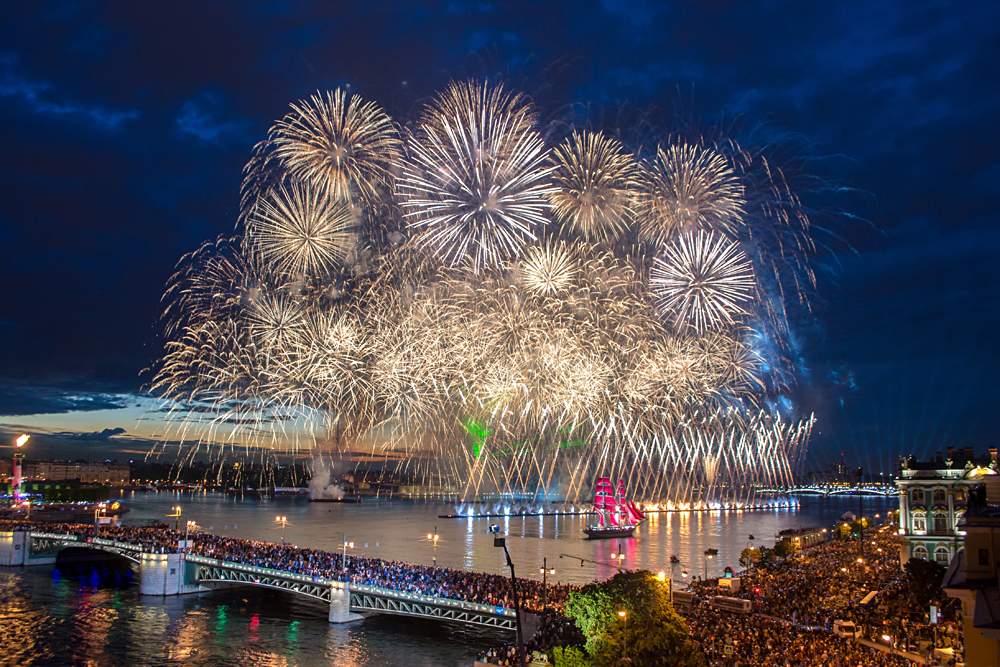 Crowd on Palace Bridge watching fireworks during White Nights Festival, St Petersburg, Russia