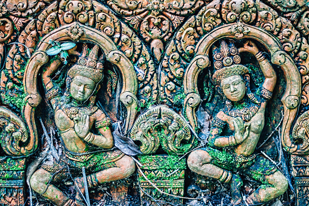 Detail of Sculpted Stone in Temple, Angkor Wat, Siem Reap, Cambodia