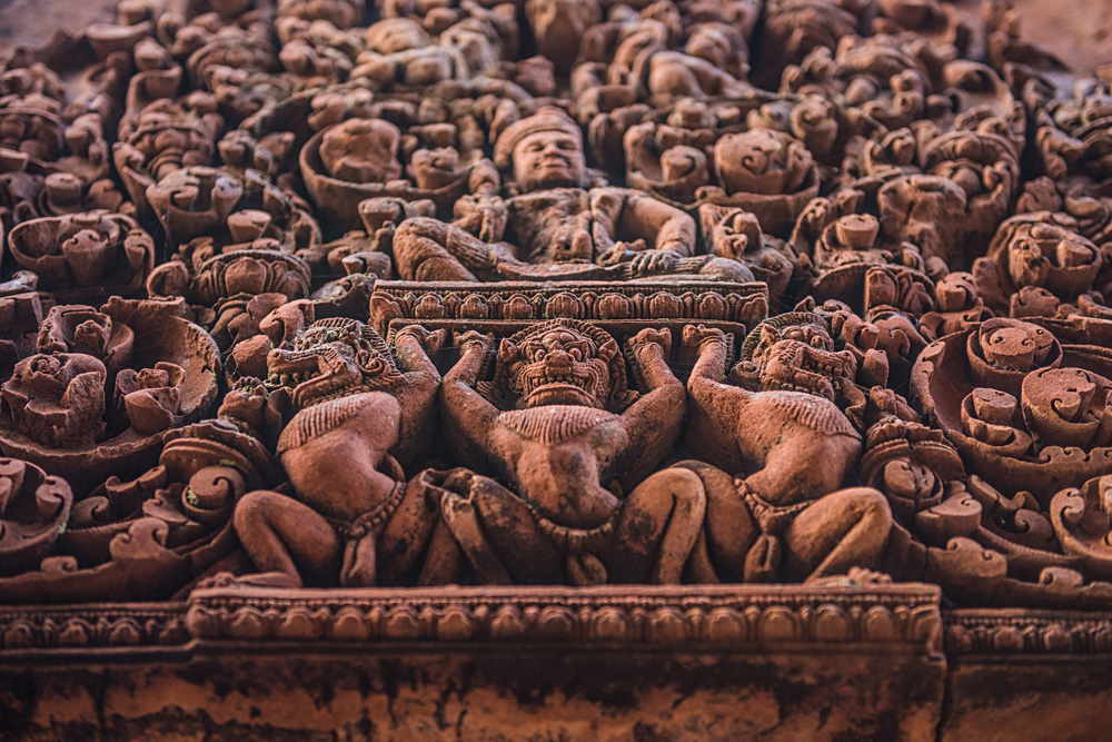 Detailed Ramayana sculptures and bas relief at the Bantaey Srei Temple, Angkor Wat Complex, Siemp Reap, Cambodia