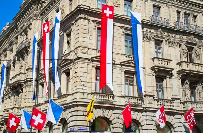 Display of Flags on Swiss National Day in Zurich, Switzerland