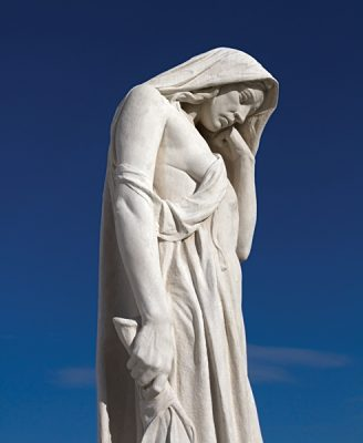 Figure of Canada Bereft, also known as Mother Canada mourning the loss of her children, Overlooking the Vimy Ridge at the Canadian National Vimy Memorial, France