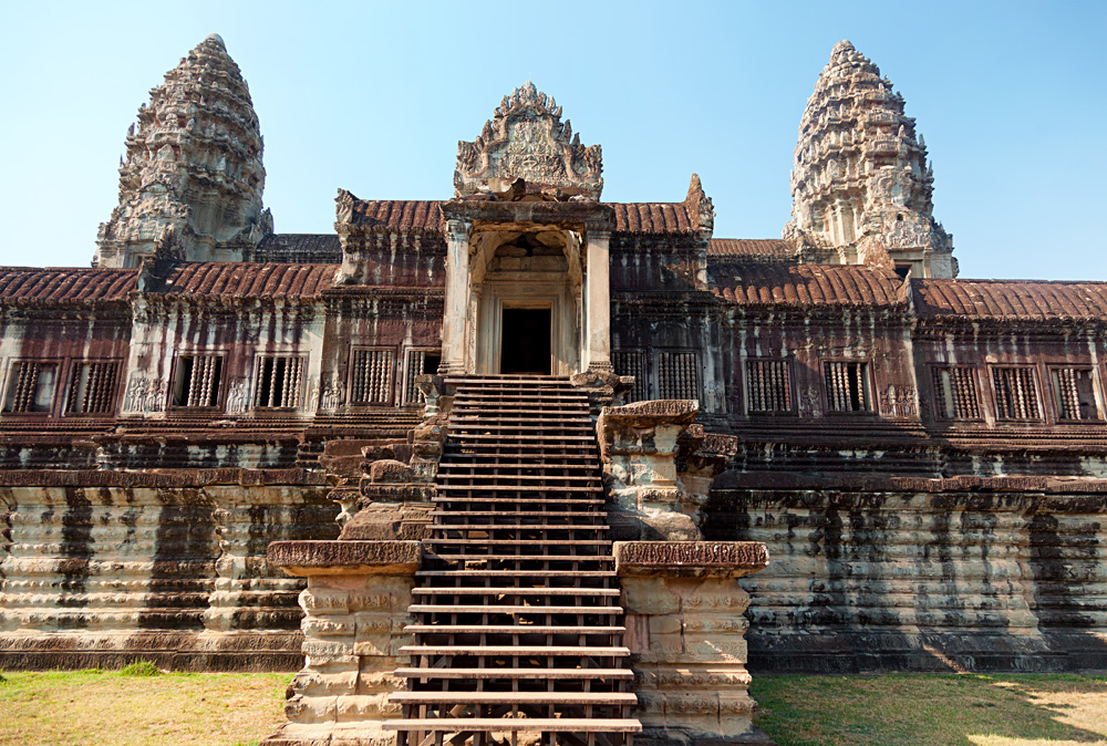 Front View of Angkor Wat Temple in Angkor Wat Complex, Siem Reap, Cambodia