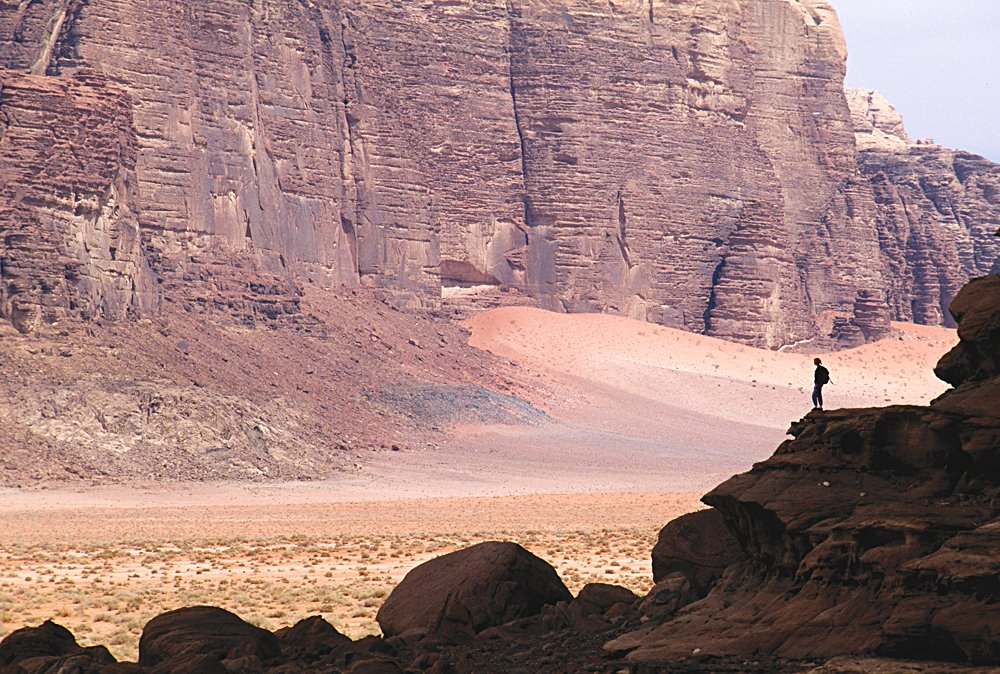 Hiker at Wadi Rum Lookout, Jordan
