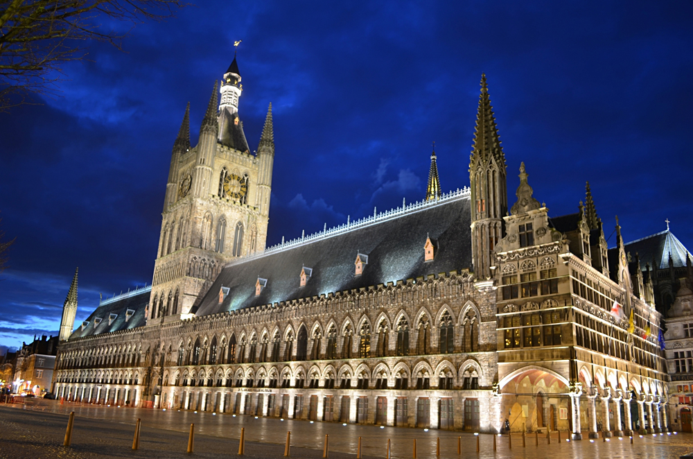 Lakenhalle or Cloth Hall in Ypres at Night, Belgium