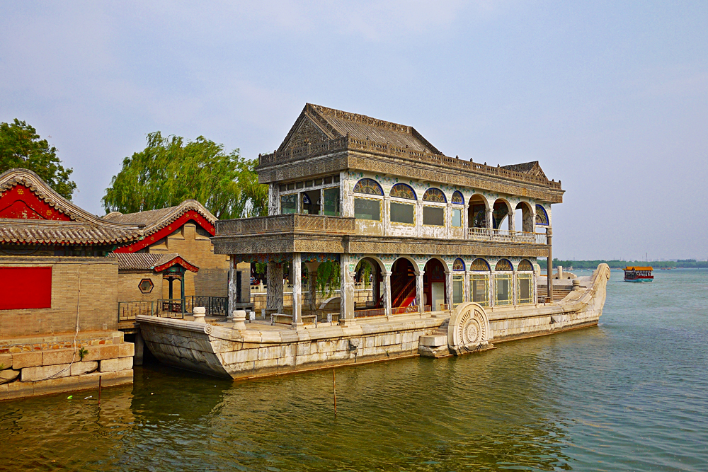 Marble Boat named the Boat of Purity and Ease in Summer Palace, Beijing, China