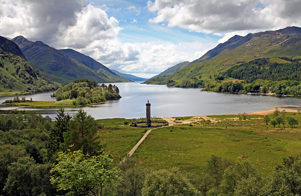 Monument to Bonnie Prince Charlie, Glenfinnan, Loch Shiel, Scottish Highlands, Scotland, UK (United Kingdom)