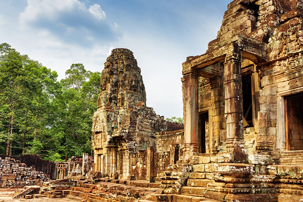 One of the entrances to ancient Bayon temple in Angkor Thom, Angkor Wat Complex, Siem Reap, Cambodia