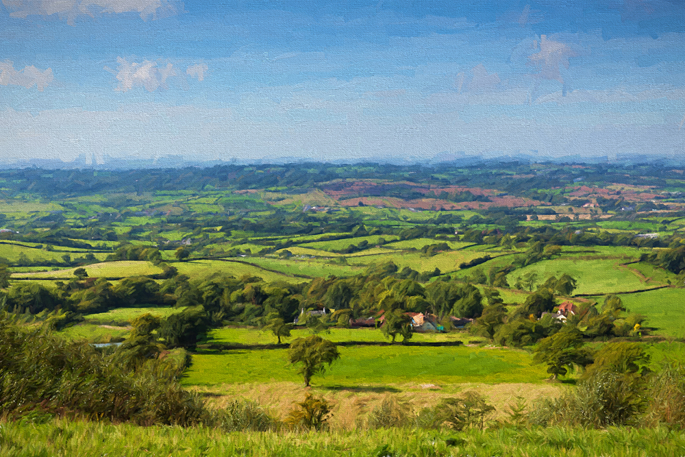 Painting of East Devon countryside view from East Hill Blackdown Hills near Ottery St Mary, England, UK (United Kingdom)