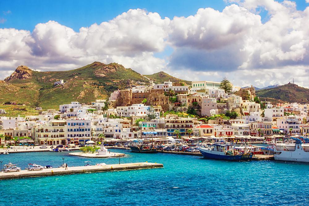 Port on the Greek island of Naxos, Greece