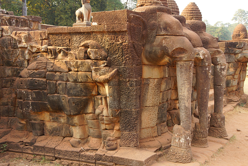 Procession of Elephants on the Elephant Terrace, Angkor Thom, Angkor Wat Complex, Siem Reap, Cambodia