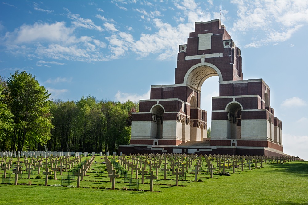 Rear View of Commonwealth Memorial Archway in Thiepval, France