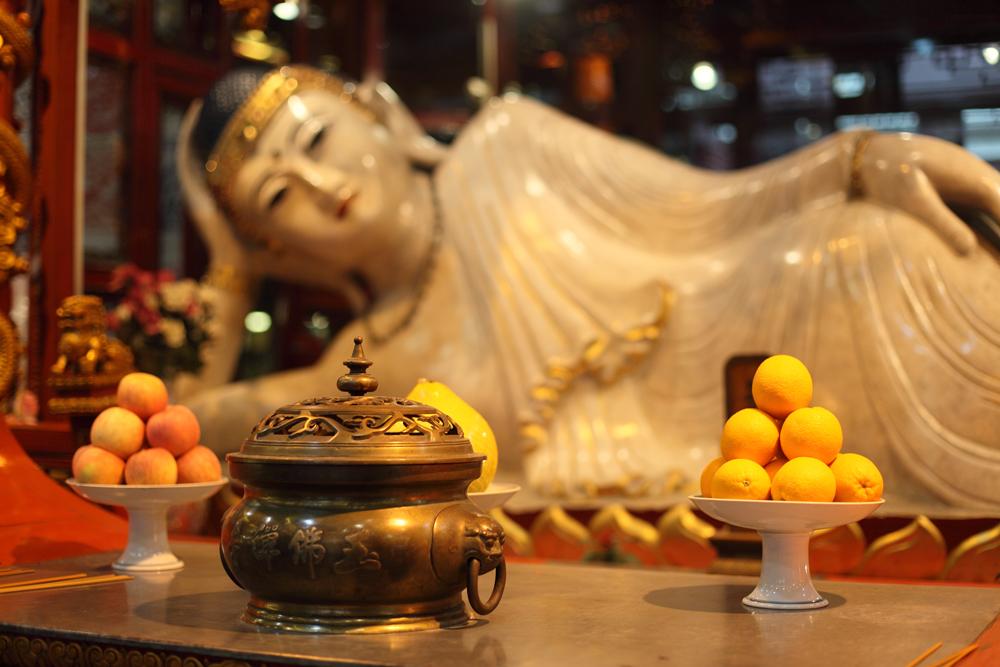 Recumbent Buddha statue at Jade Buddha Temple in Shanghai, China