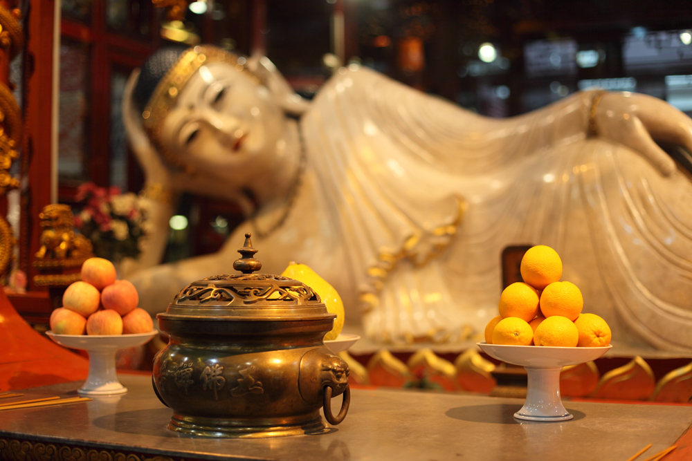 Recumbent Buddha statue at Jade Buddha Temple in Shanghai, China