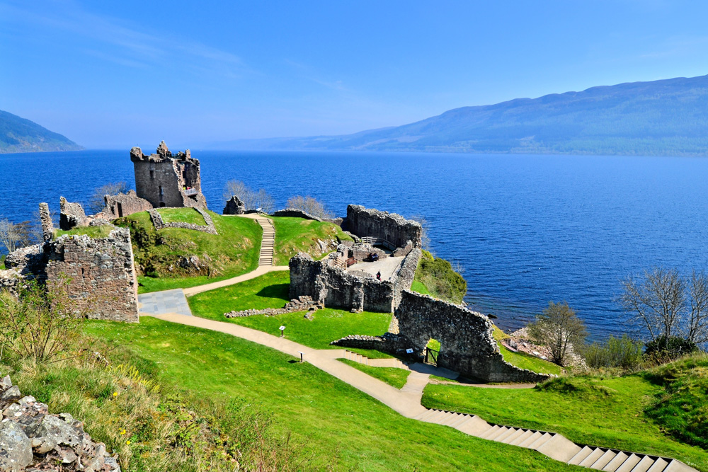 Ruins of Urquhart Castle along Loch Ness, Scotland, UK (United Kingdom)