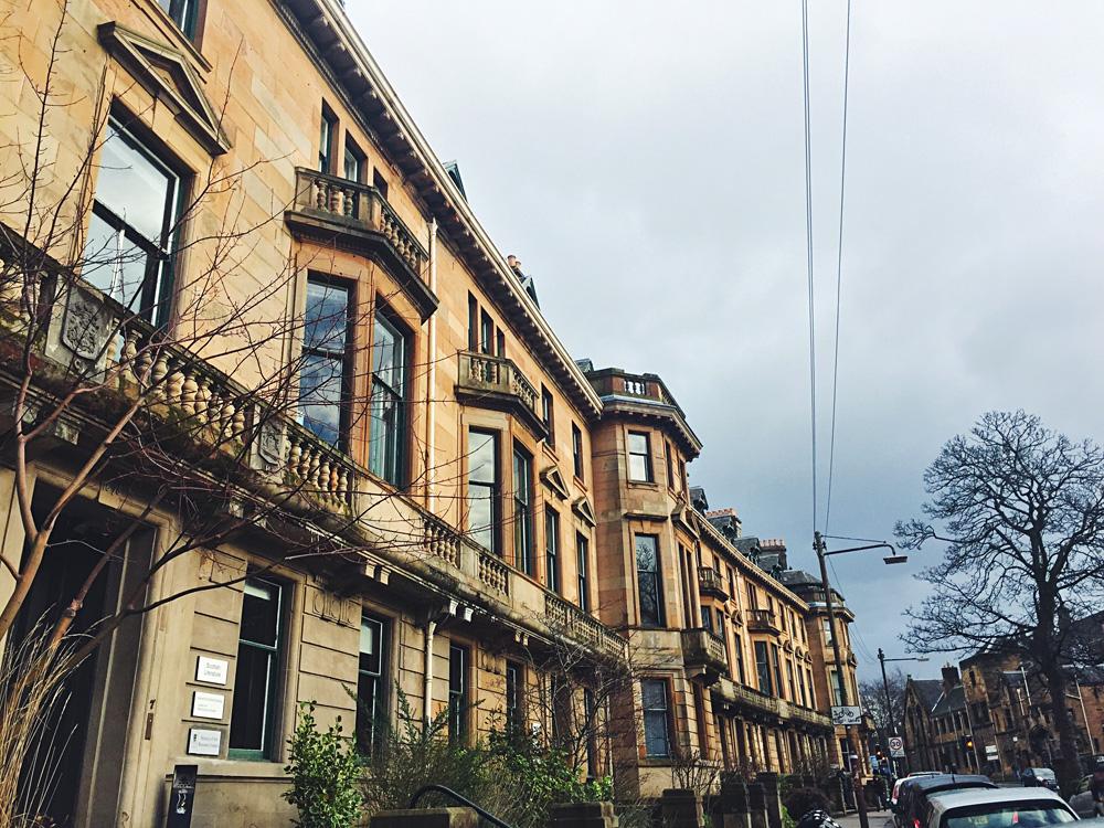 Sandstone Buildings in West End Glasgow, Scotland, UK (United Kingdom)