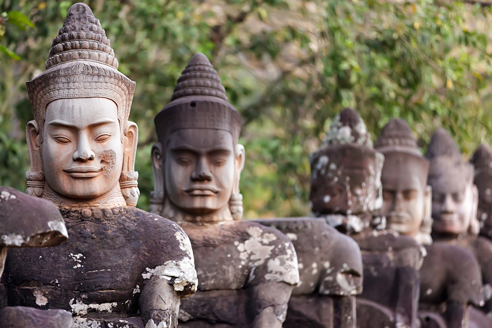 Statues of Angkor Thom at South Door, Angkor Wat Complex, Siem Reap, Cambodia
