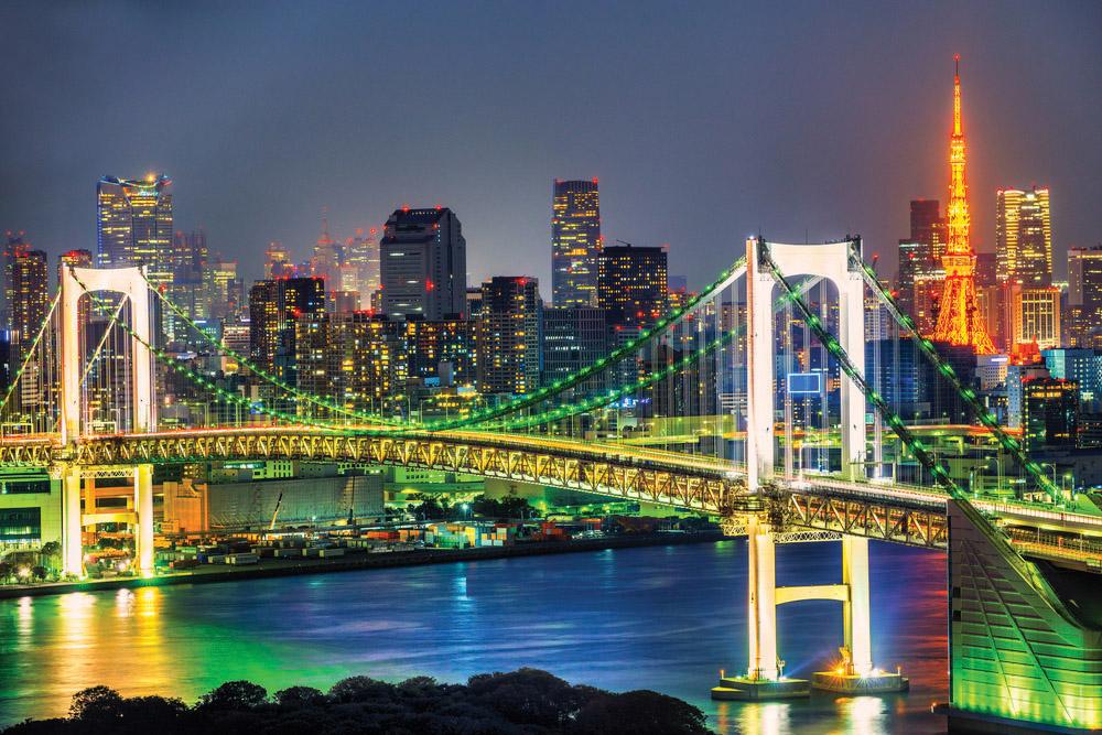 Tokyo Skyline at Night with Tokyo Tower and Rainbow Bridge, Tokyo, Japan