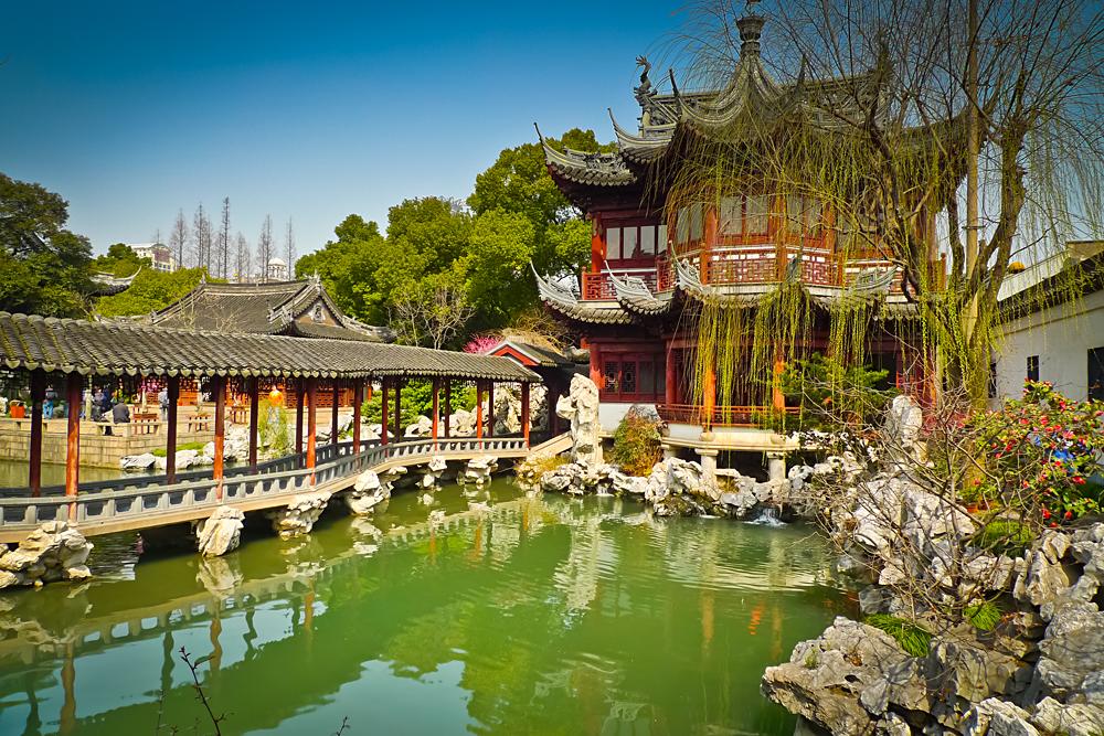Traditional Pavilions in Yu Yuan Gardens, Shanghai, China