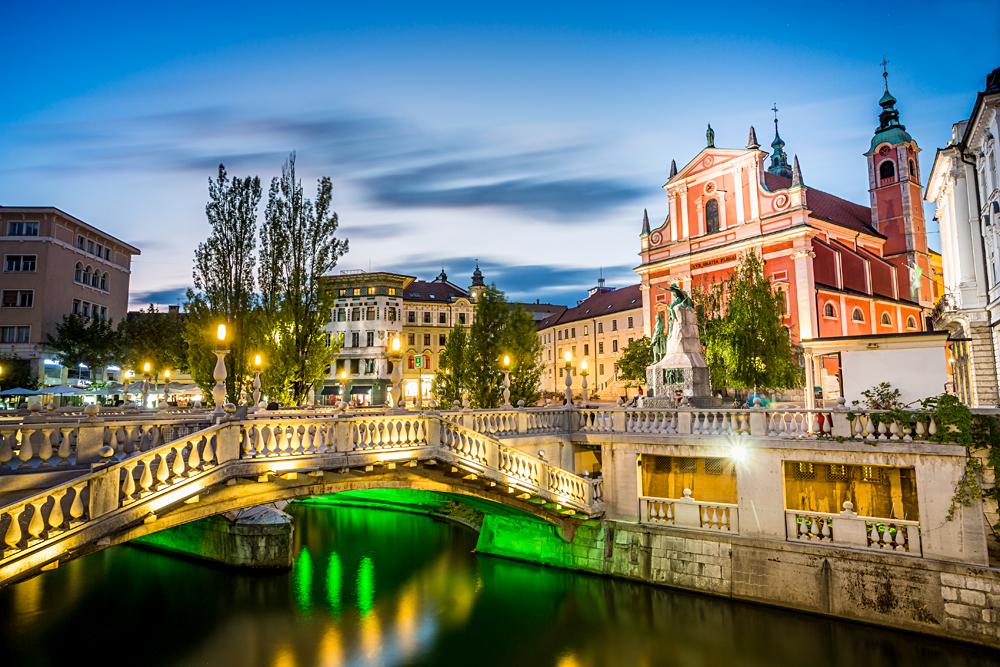 Tromostovje in Ljubljana city centre, Slovenia